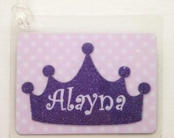 Princess Party Favor Princess Crown Bag Tag Princess Birthday Party Favor Princess Baby Shower Favor Princess Diaper Bag Tag Kid Luggage Tag