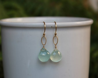 Chalcedony Dangle Earrings, Gold or Silver, Blue Gemstone Earrings, Chalcedony, Lightweight Earrings, Free Shipping