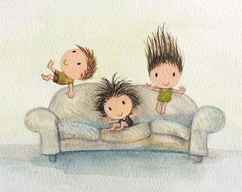 when friends drop in - nursery prints 2 sisters 1 brother children playing humorous gifts jumping on couch kawaii cute jumping on bed 8 x 10
