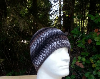 mens hat, boys beanie, crochet hat, beanie, black, grey, gray, brown, vegan friendly, hats for men, multi-colored, youth/adult 2840