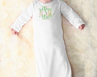 Monogrammed infant layette, Lilly inspired monogrammed layette