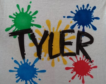 Airbrush Paint Splatter T-Shirt Personalized w/ Your Name size S M L XL 2X Airbrushed T Shirt