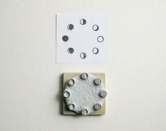 Moon Phases Hand-Carved Rubber Stamp
