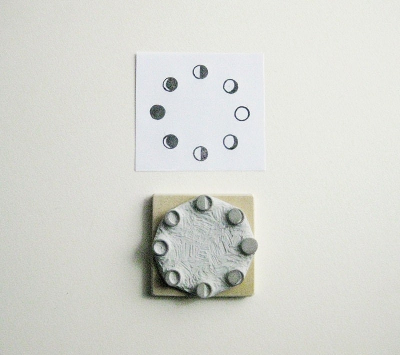 Moon phases hand carved rubber stamp