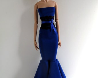 Royal blue strapless mermaid evening gown with black lace obi-style belt for 16 inch fashion dolls