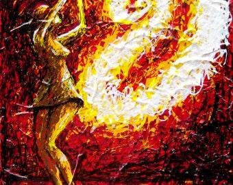 Fire Dancer Art - unique one of a kind original painting - figurative art Goddess female figure hot tamale Womens empowerment