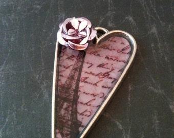Pretty in Pink Paris Victorian Heart Necklace