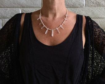 triUne necklace : pearls & crystal quartz points