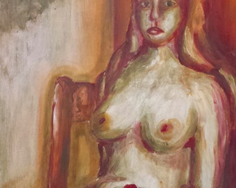 Nude Woman in Red - Original Acrylic Painting
