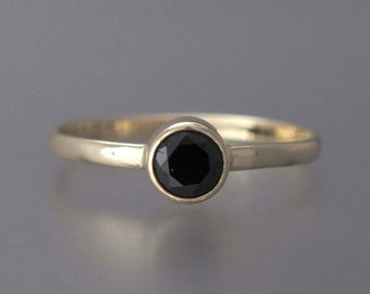 Black Spinel Ring -  Solid 14k Yellow Gold Thin Engagement Ring with a 4mm Black Diamond Alternative