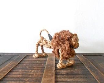 vintage RARE danish modern gunnar flørning rope lion figurine