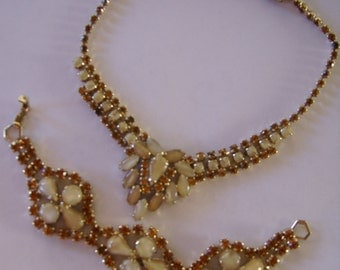 Vintage Matching Demi Parure Faux Opal Rhinestone Bracelet/ Choker Necklace