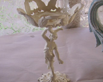Vintage White Cast Iron Cherub Putti Candle/Trinket Holder