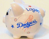Piggy Bank Los Angeles Dodgers Baseball Personalized