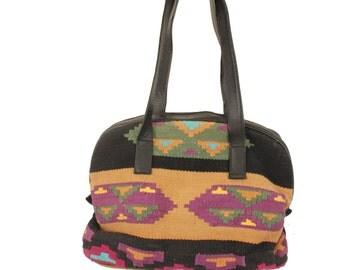 SOUTHWEST 80s Black Tan Purple Southwestern Structured Leather Flat Woven Ethnic Purse Bag