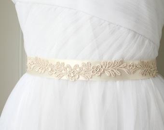 Ivory Lace Sash, Wedding Sash, Thin Belt