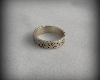 Let it snow ring, snowflake ring, snow ring, stamped snowflake ring, snowflake band ring