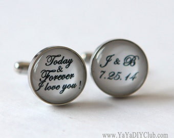 Wedding vow keepsake Wedding Keepsake Cufflinks Groom cufflinks -Today Forever I love you - custom wedding date - Custom Quote Color