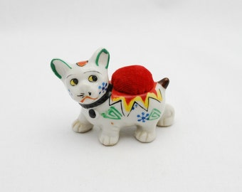 Vintage Ceramic Circus Dog Pin Cushion Figurine - 1950's Japan