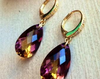 Ametrine Pave Gold Leverbacks Earrings. Bolivian Ametrine stones.
