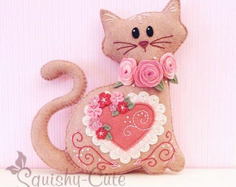 Cat Stuffed Animal Pattern - Felt Plushie Sewing Pattern & Tutorial - Lacey the Valentine Cat - Embroidery Pattern PDF