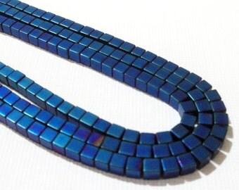 "Hematite Beads - Blue Square Cube 3D Beads - Non Magnetic Hematite - Natural Gemstone Bead - 3mm - 16"" Strand - Bulk Option - Jewelry Making"