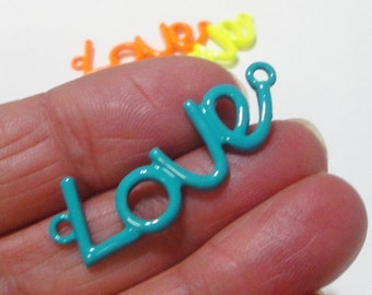Love Charm, Love Charm Connector, 2 Loops Love Link Necklace, Metal Sideways Bracelet Charm Findings, Neon Green, Blue Connector, (3) Pcs
