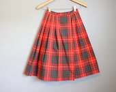 Plaid Skirt 1950s Vintage Red Tartan Kilt Pleated XS 23