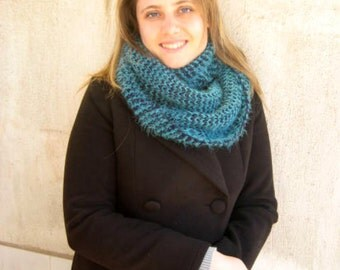 Infinity Scarf - Teal and Navy Blue Cowl, Scarf - Gift for Her - Ready to Ship - Valentines Day Gift