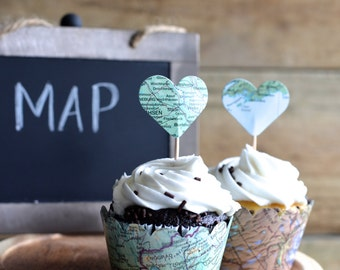 Vintage Map Cupcake Wrappers, perfect for your adventure!