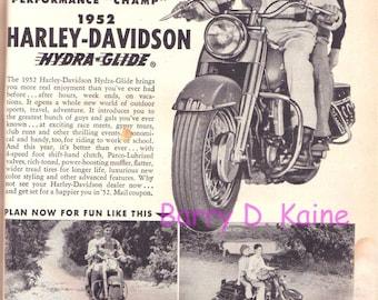 Vintage Harley Davidson Ad circa 1952 print 712