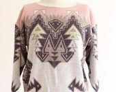 tribal sweater - 80s pastel pullover sweater