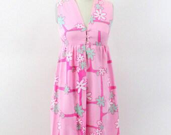 maxi dress - 60s dress- mod dress - pink maxi dress - xs