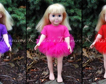 """2-Piece Tutu Outfit for 18"""" and 15"""" Dolls, You Choose The Color - Fits American Girl Dolls and My Generation Dolls"""