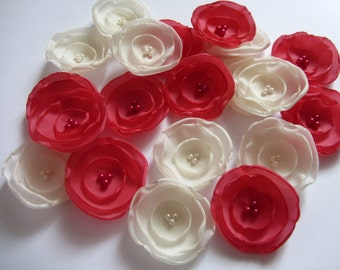 Handmade fabric flowers Wedding table decoration flowers Pink wedding flowers Pink bridesmaids Ivory wedding flowers