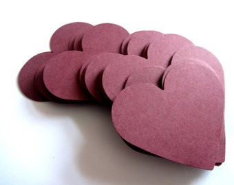 Wedding burgundy Hearts 50 Large Paper Hearts Wedding decoration Valentines day Scrapbooking Wish Tag Wedding Tag Paper Die Cut burgundy red