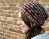 Striped Slouchy Beanie, Hand Knitted Beanie Hat, Mens Beanie, Winter Fashion Accessory, Striped Hat, Fall Fashion  - Oxblood Red, Gray Blue