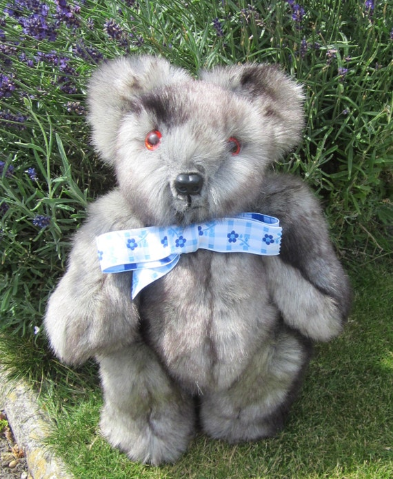 Teddy Bear Cuddly Stuffie Light Grey Faux Fur By