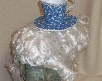 Teacup Fascinator- Blue and White Farm Print