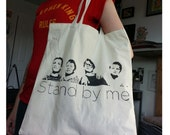 Stand by Me canvas tote bag stencil and spray paint art by Rainbow Alternative on Etsy