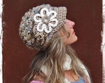 BEIGE Slouchy Beanie slouch hat FLOWER brim hat Earthy Crochet beanie hat Hippie hat womens beanies girls hat Visor beanie GPyoga
