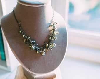 Chunky necklace - smokey green crystals