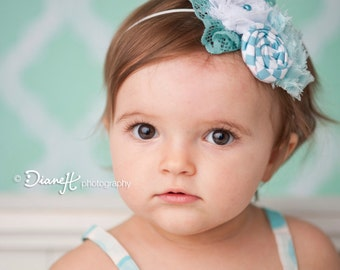 Bird's Eye View- white and aqua rosette and lace vintage inspired headband