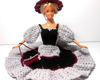 Black and Gray Fashion Doll Dress With Burgundy Hat and Purse, 11 1/2 Inch Doll Dress