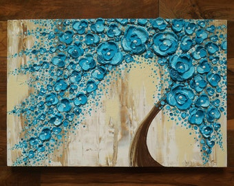 "Made to Order Large 24"" x 36"" Original Impasto Painting Rainy Water Blossom Tree Amber Elizabeth Lamoreaux Turquoise Flowers Rain Brown"