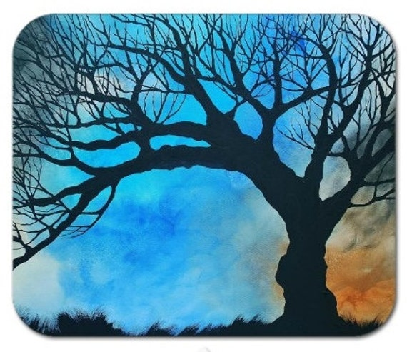 Mousepad Mouse Pad Fine Art Painting Lapis Windsong Windy Tree Silhouette Grasses Blowing Blue Brown Sepia