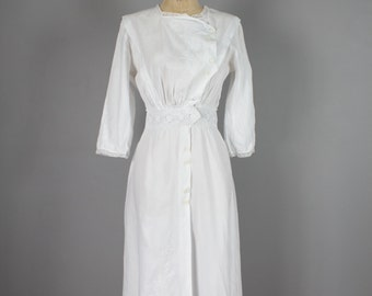 1910s Wedding Dress . White Edwardian Embroidered Floral Lace . XS