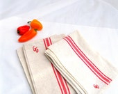ONE vintage french linen/hemp tea towel.red stripe.monogrammed.unused.cream.woven.tessiemay