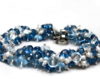 Stream  - London Blue Topaz and Swiss Blue Topaz Cluster Bracelet