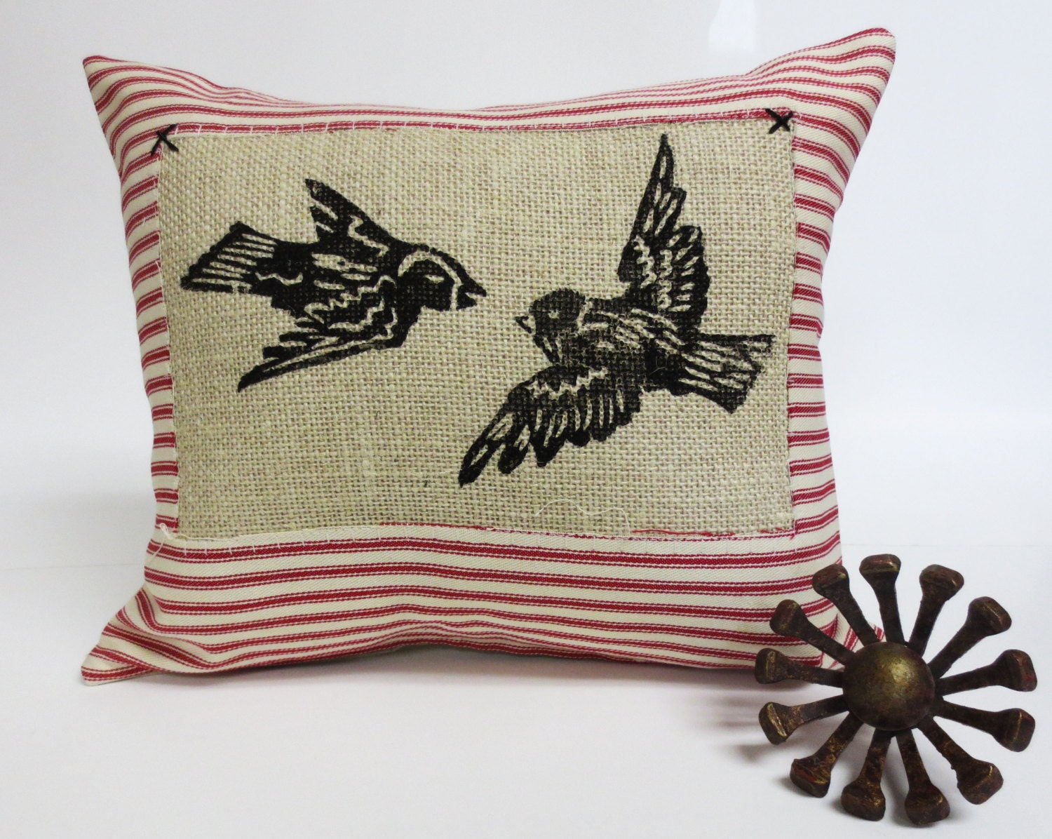 Decorative Throw Pillow Cushion with Flying Birds Block Print